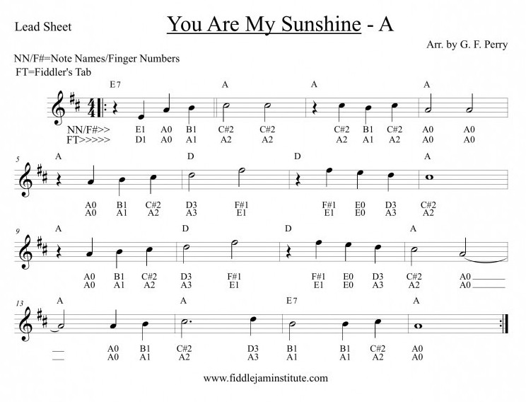 You Are My Sunshine | Fiddle Jam Institute