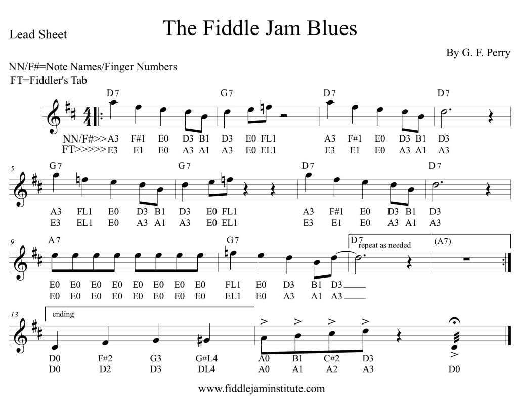 Fiddle Jam Blues Chart